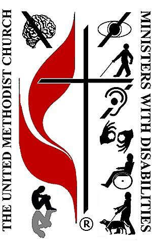 Logo of United Methodist Association of Ministers with Disabilities. The logo includes symbols for disabilities related to vision, learning, hearing, speaking, and mobility.